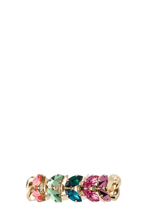 Image 1 of Iosselliani Multi Navettes Antique Brass Floral Bracelet in Multi