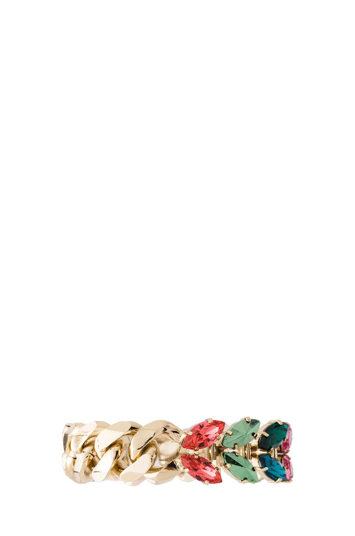 Image 2 of Iosselliani Multi Navettes Antique Brass Floral Bracelet in Multi