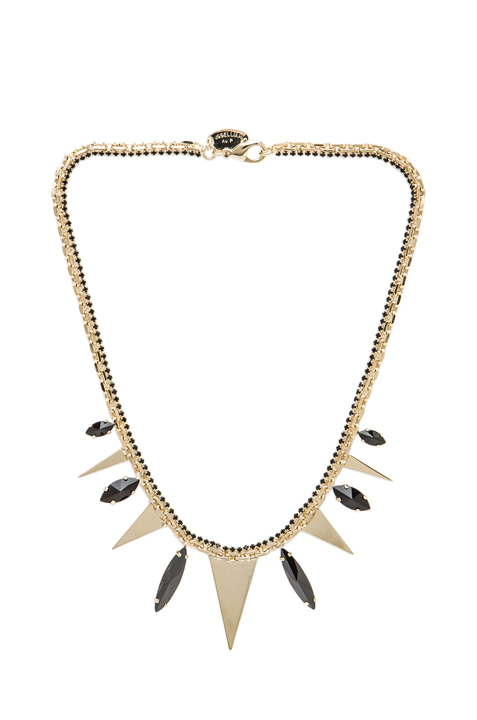 Image 1 of Iosselliani Black Zirconia & Triangles Antique Brass Necklace in Multi
