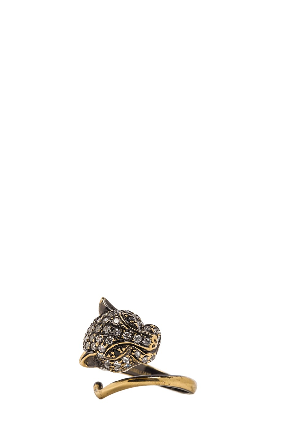 Image 1 of Iosselliani Cheetah Plated Ring in Brass & Crystal