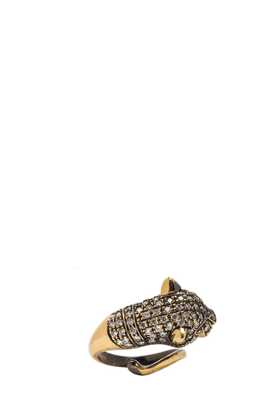 Image 2 of Iosselliani Cheetah Plated Ring in Brass & Crystal
