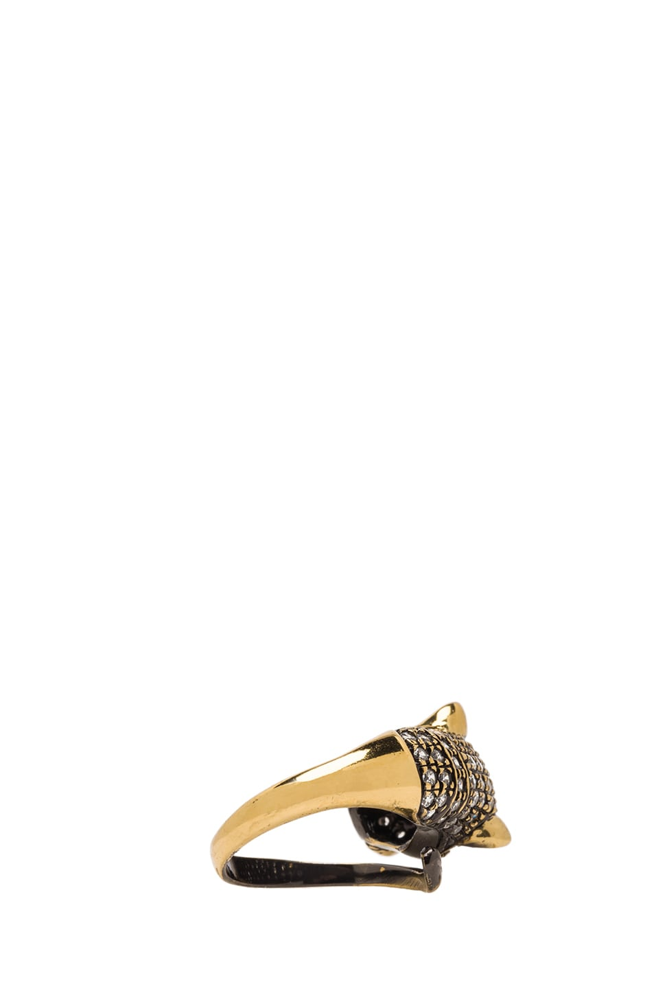 Image 3 of Iosselliani Cheetah Plated Ring in Brass & Crystal