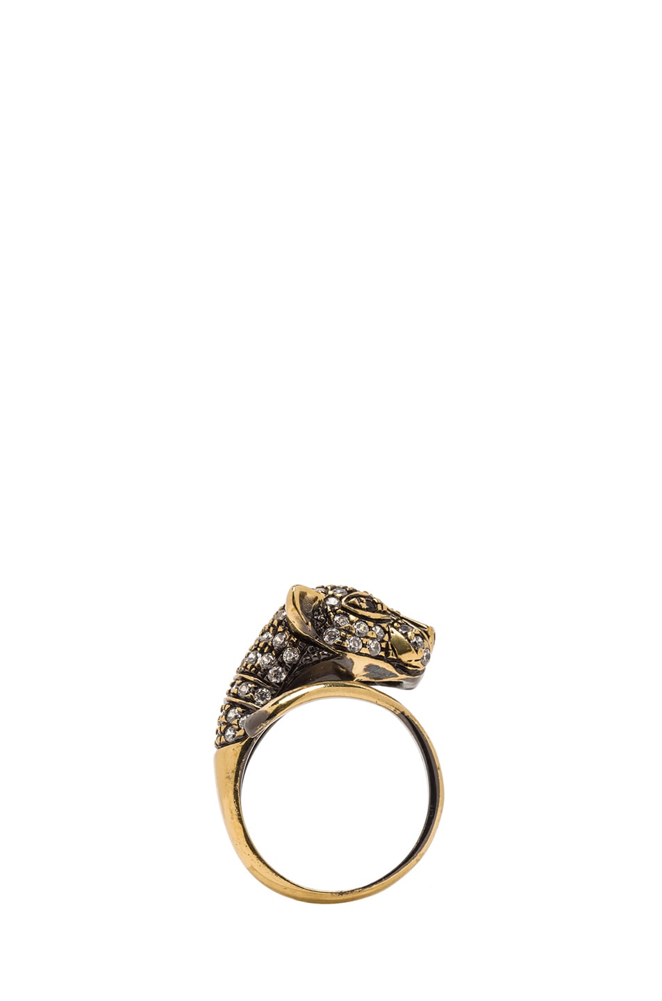 Image 4 of Iosselliani Cheetah Plated Ring in Brass & Crystal