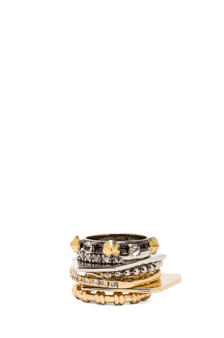 Image 1 of Iosselliani Plated Ring Set in Gold & Crystal