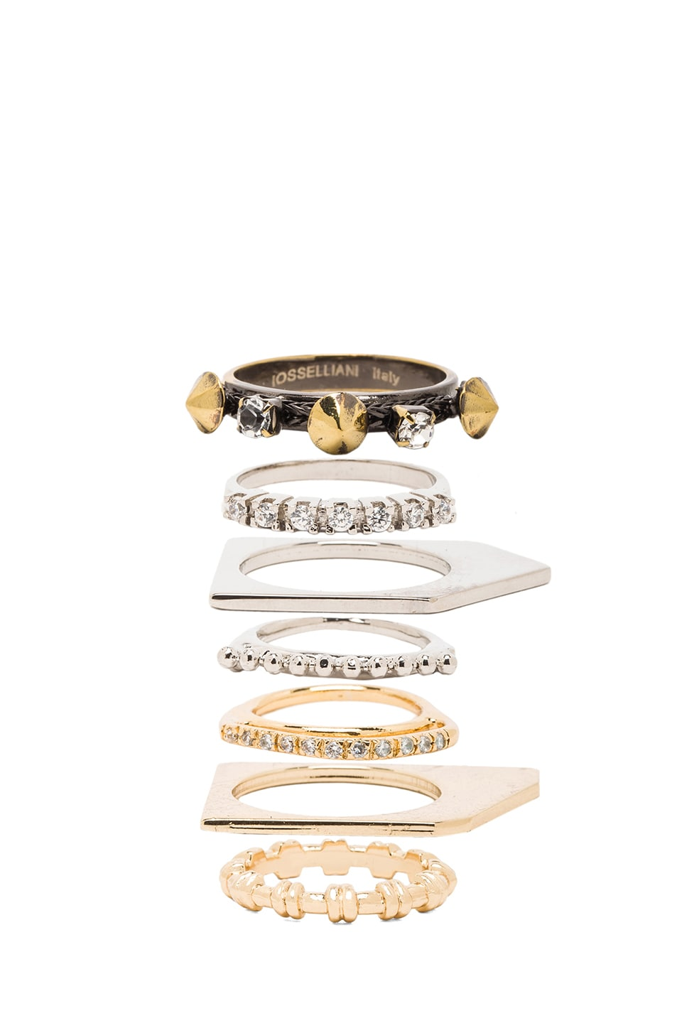 Image 2 of Iosselliani Plated Ring Set in Gold & Crystal