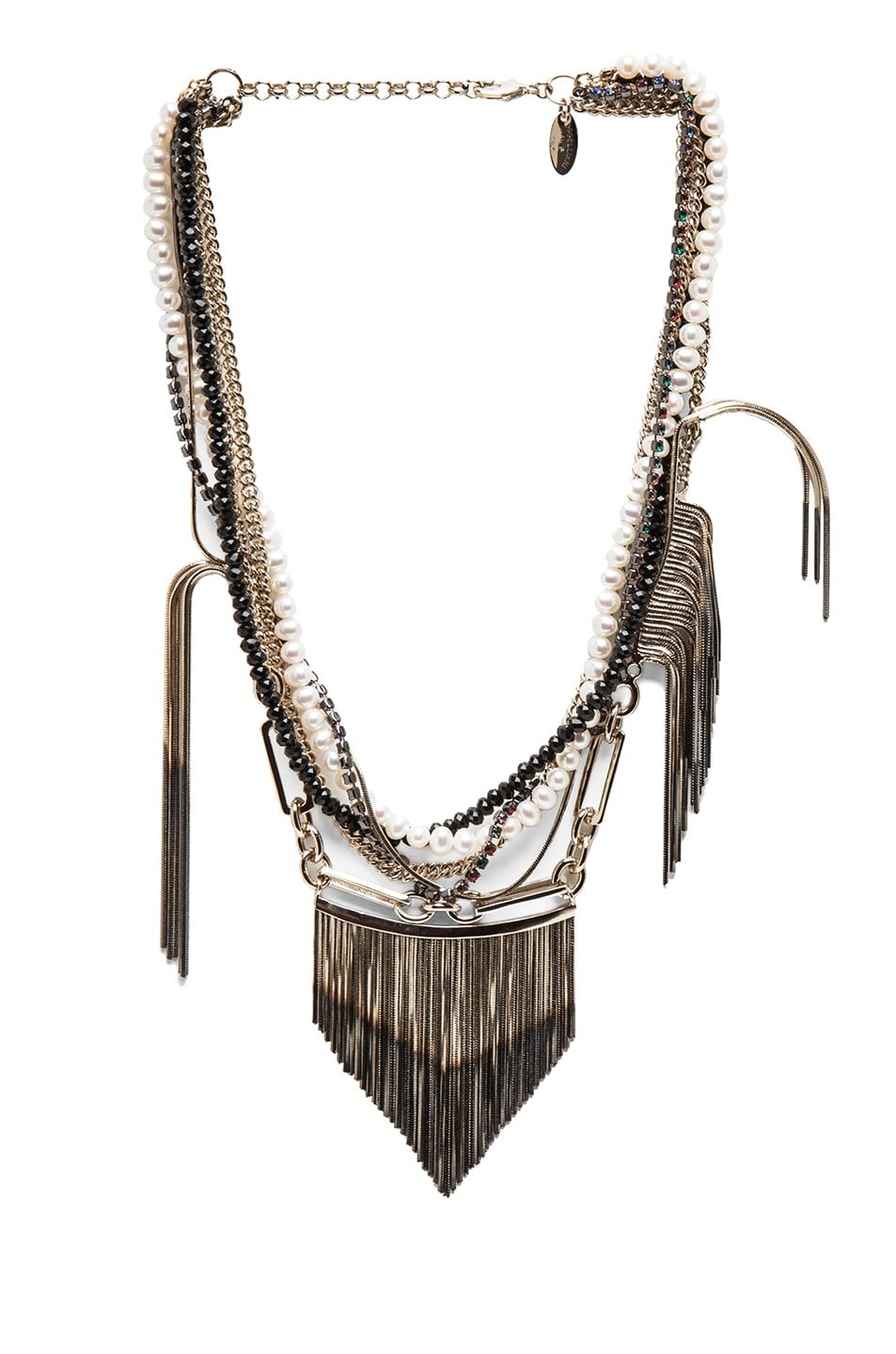 Image 1 of Iosselliani Multistrand Fringe Plated Necklace in Black & Gold
