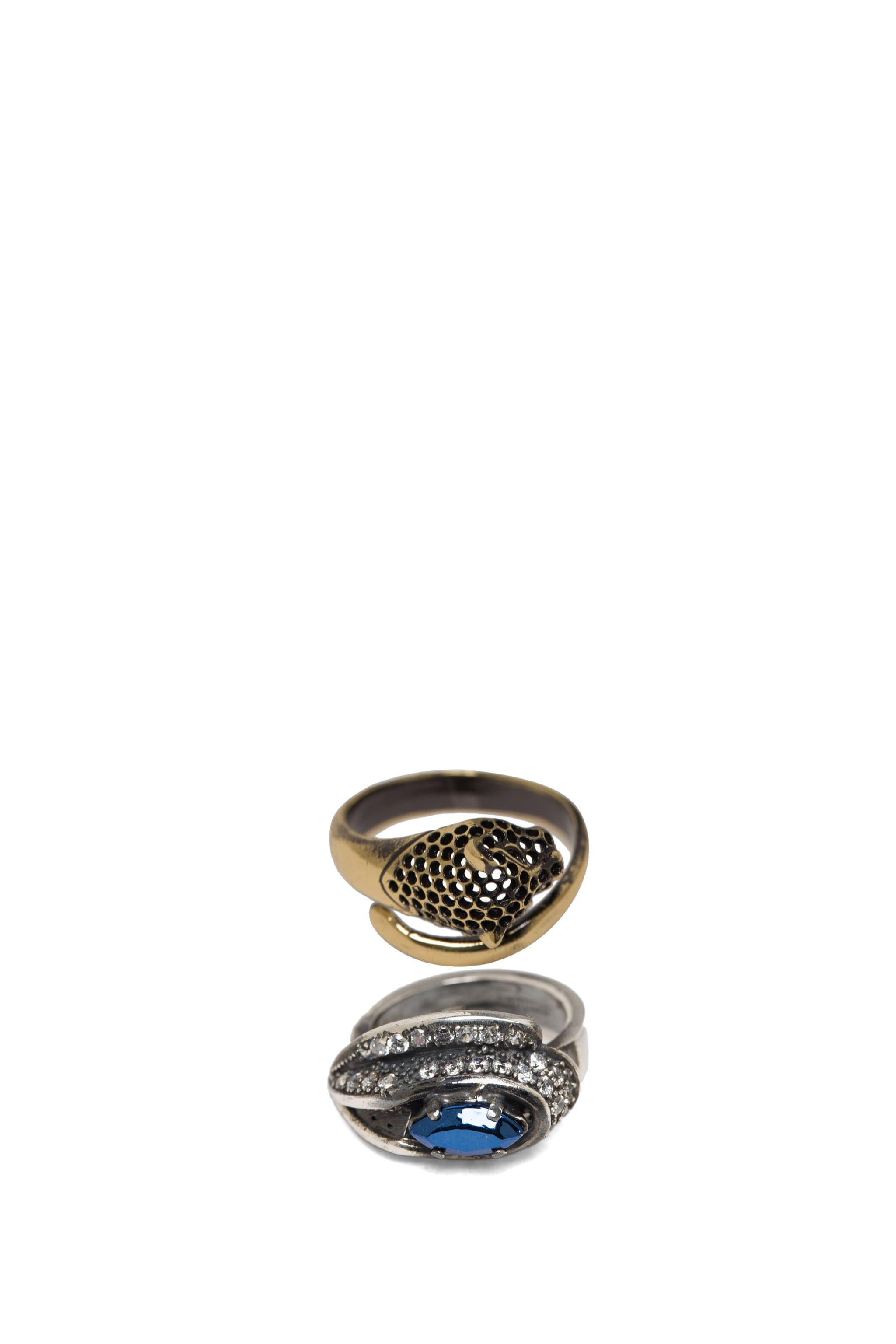 Image 2 of Iosselliani Ring Set with Fused Stone in Crystal & Blue