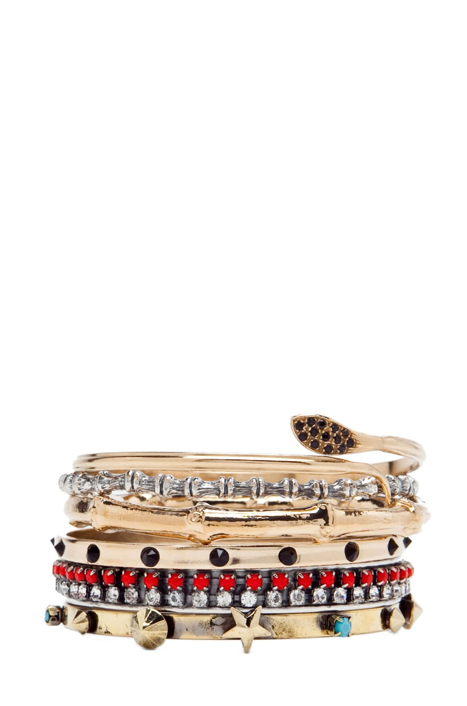 Image 1 of Iosselliani Set of Mixed Bangles in Multi
