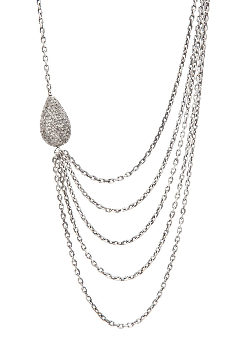 Image 1 of Irit Design Asymmetric Multi Chain Diamond Necklace in Silver