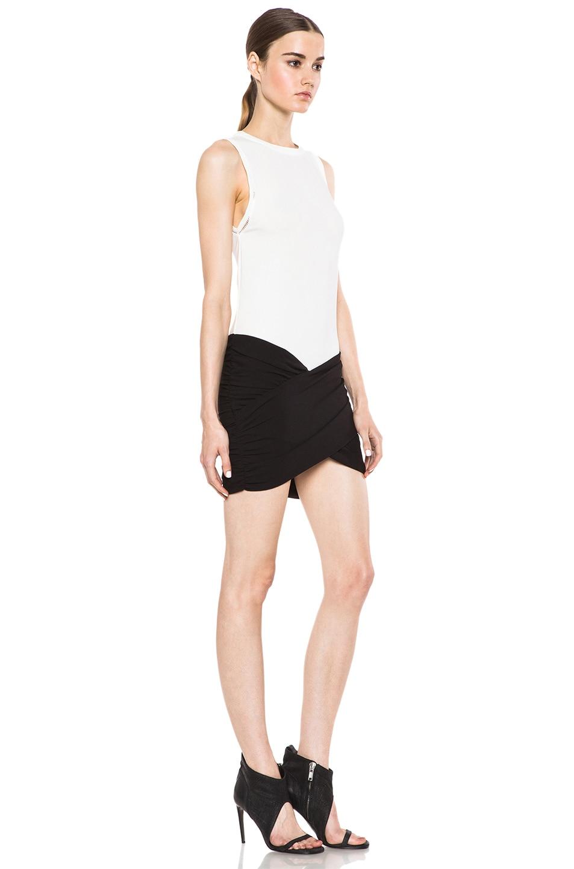 Image 3 of IRO Eruno Acetate-Blend Dress in Blanc & Noir