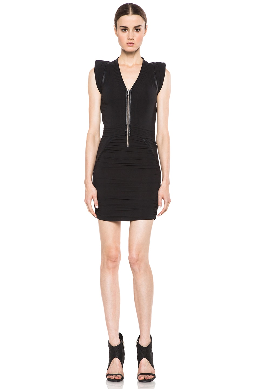 Image 1 of IRO Jadela Silk-Blend Dress in Noir