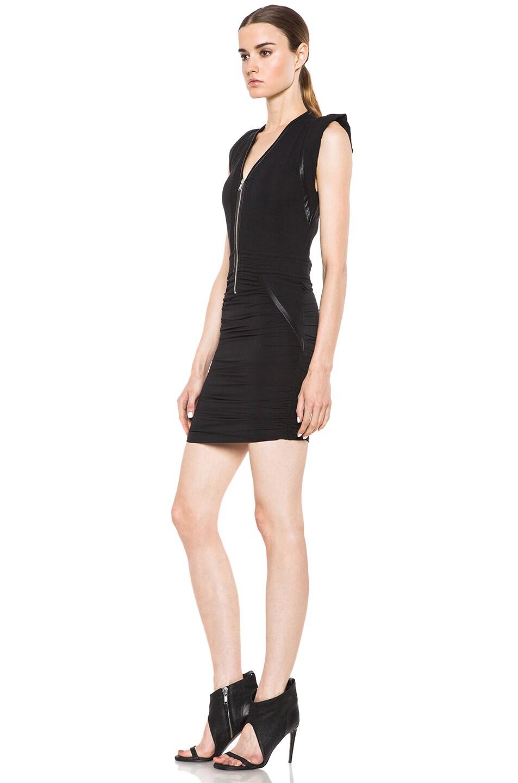 Image 2 of IRO Jadela Silk-Blend Dress in Noir