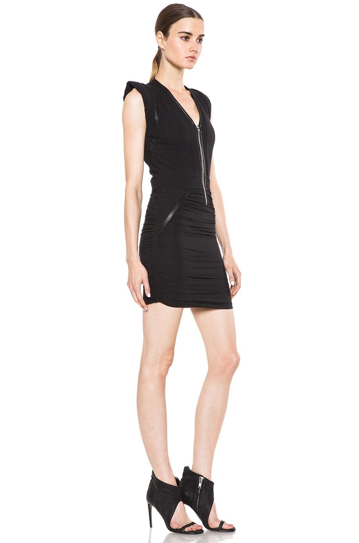 Image 3 of IRO Jadela Silk-Blend Dress in Noir
