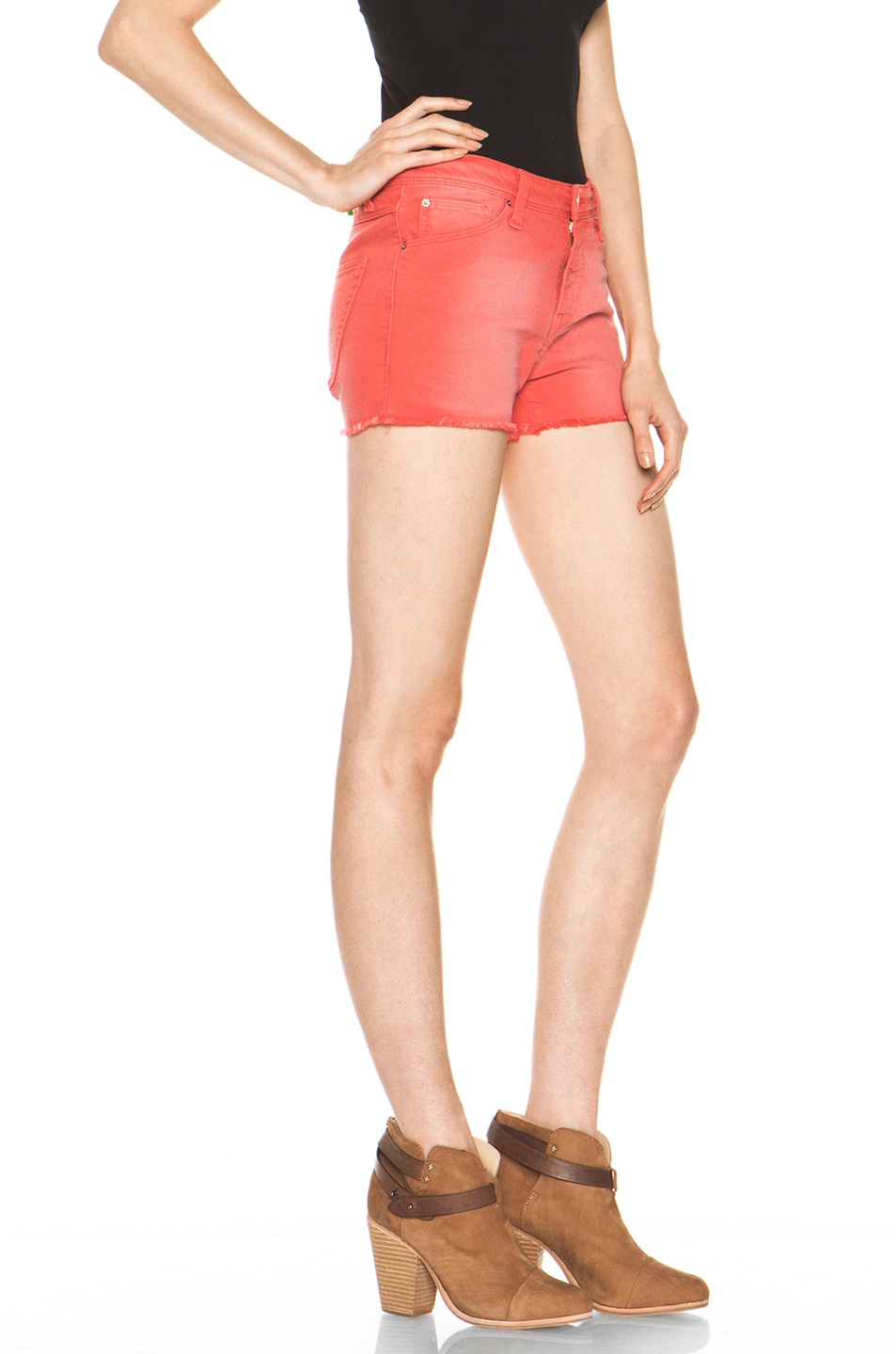 Image 3 of IRO Alexis Cutoff Shorts in Rouge