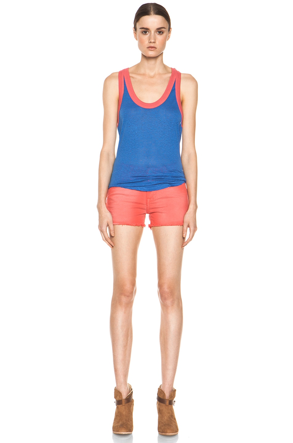Image 5 of IRO Alexis Cutoff Shorts in Rouge