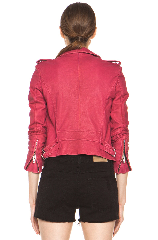 Image 5 of IRO Ashville Leather Moto Jacket in Fuchsia