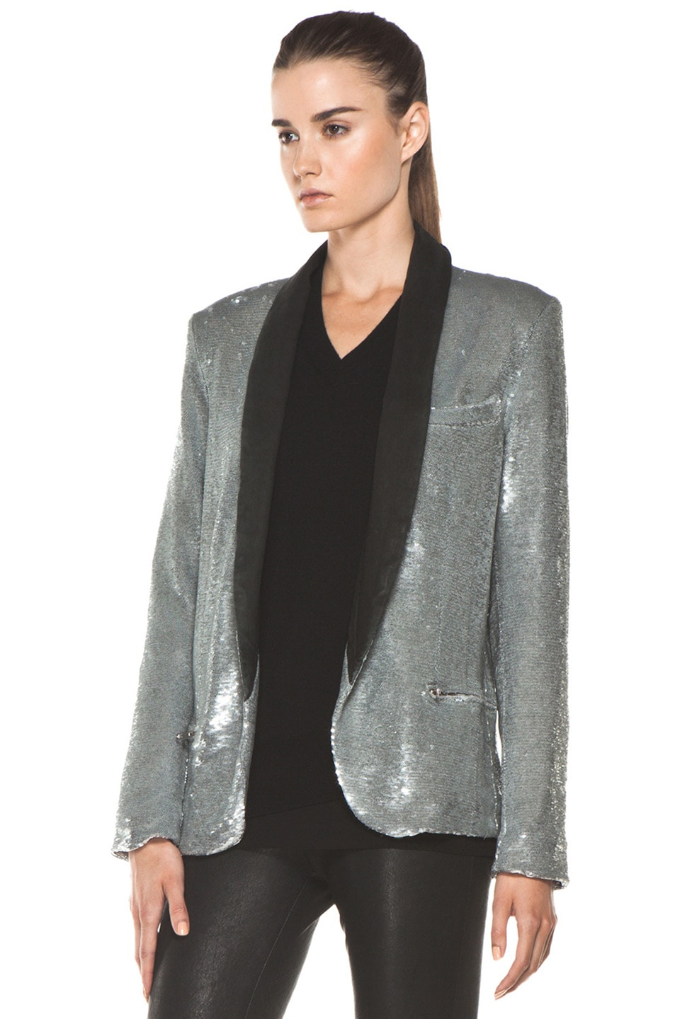 Image 2 of IRO Missy Sequin Leather Lapel Blazer in Argent