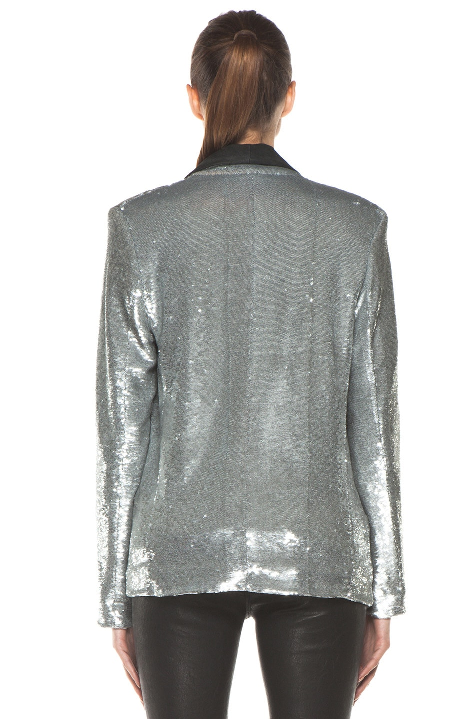 Image 4 of IRO Missy Sequin Leather Lapel Blazer in Argent