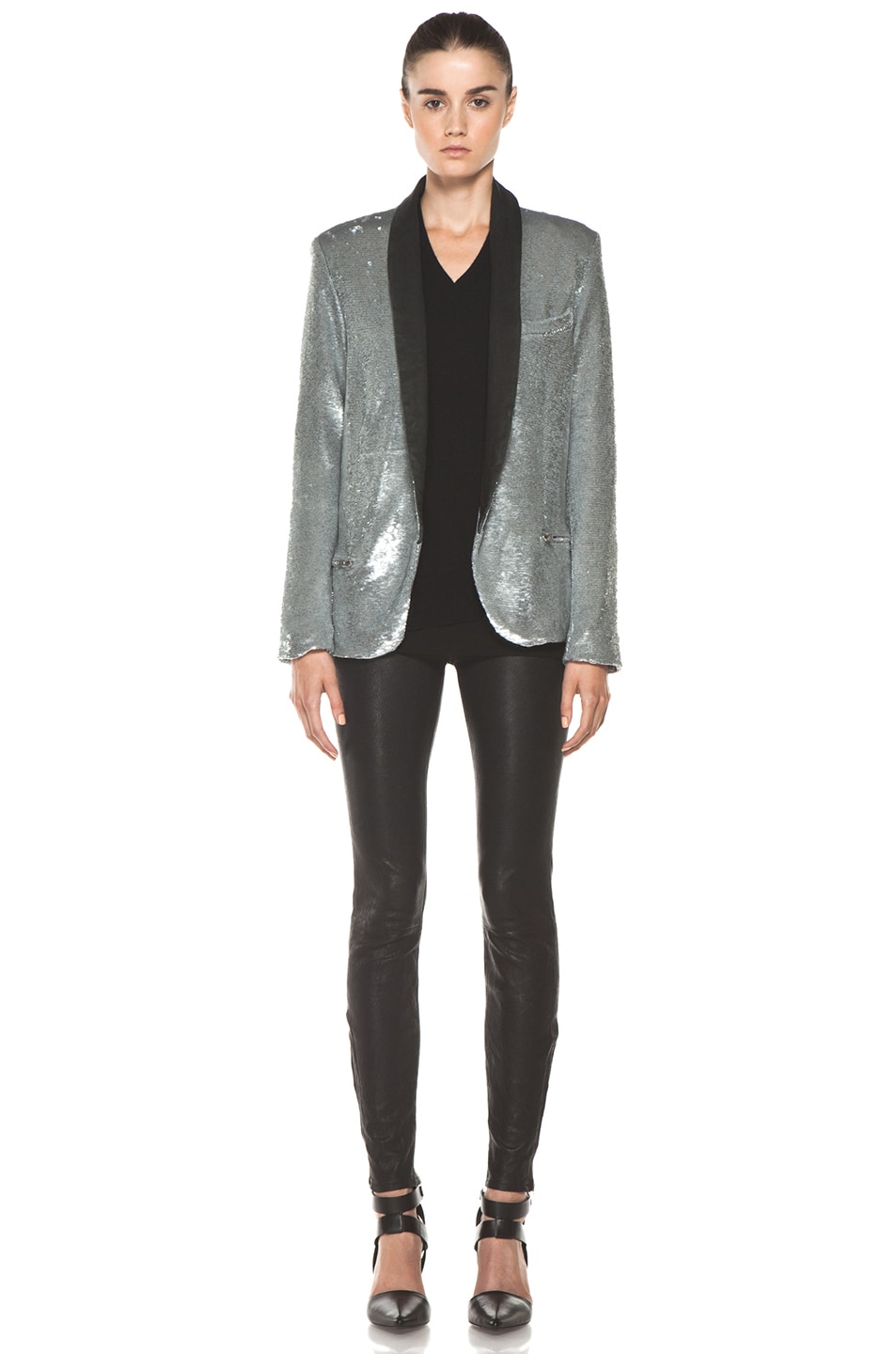 Image 5 of IRO Missy Sequin Leather Lapel Blazer in Argent