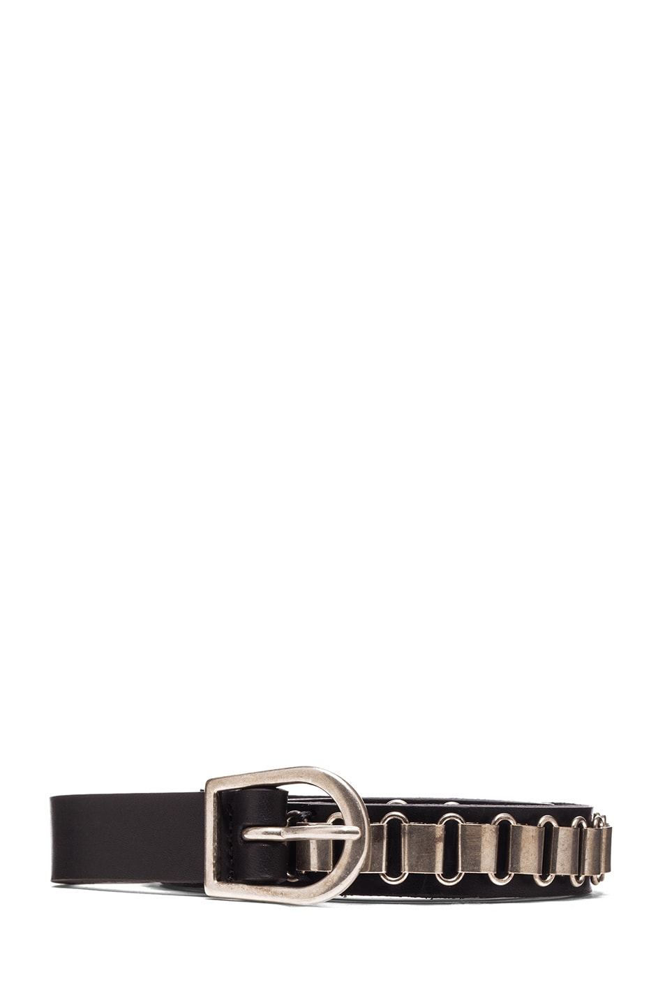Image 1 of Isabel Marant Memphis Calfskin Leather Belt in Black & Silver