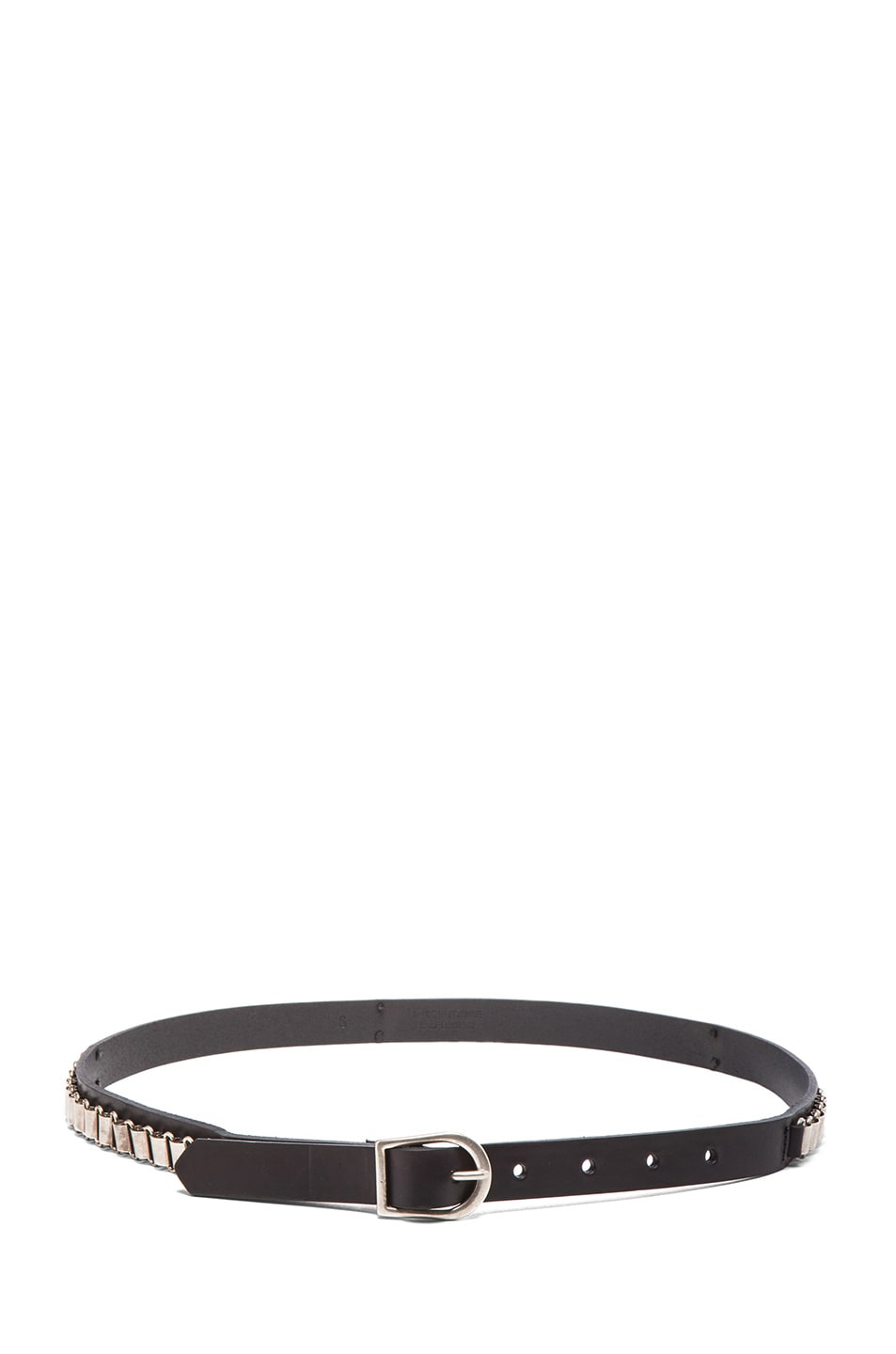 Image 2 of Isabel Marant Memphis Calfskin Leather Belt in Black & Silver