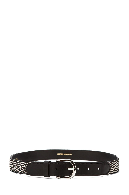 Image 2 of Isabel Marant Uston Calfskin Leather Belt in Black