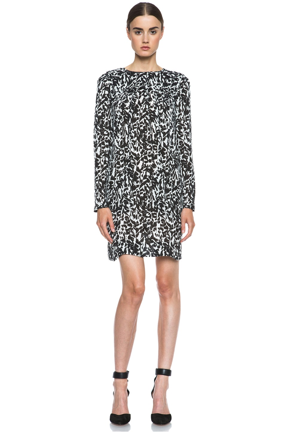 Image 1 of Isabel Marant Maybe Charmeuse Leopard Dress in Black