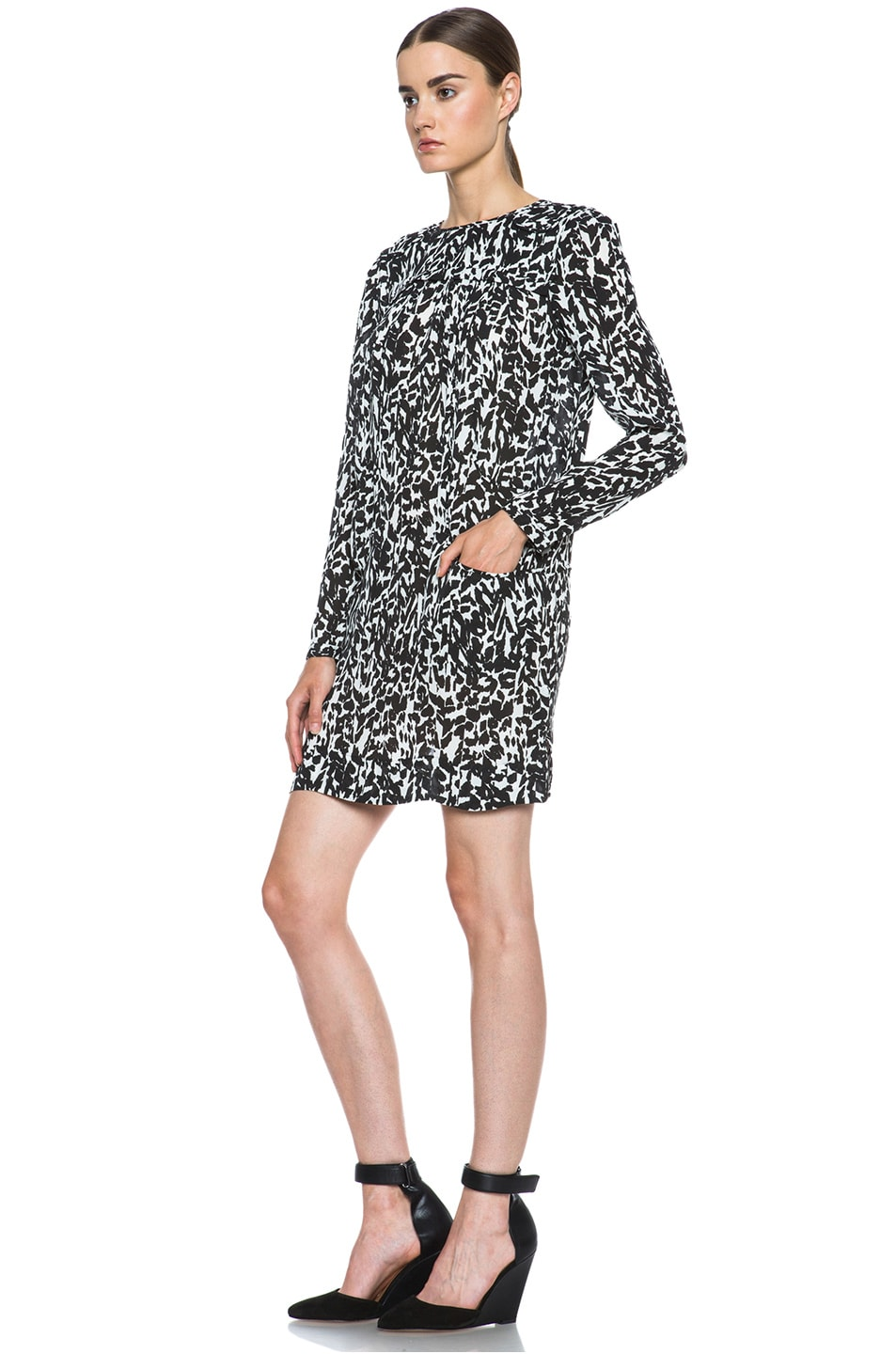 Image 2 of Isabel Marant Maybe Charmeuse Leopard Dress in Black