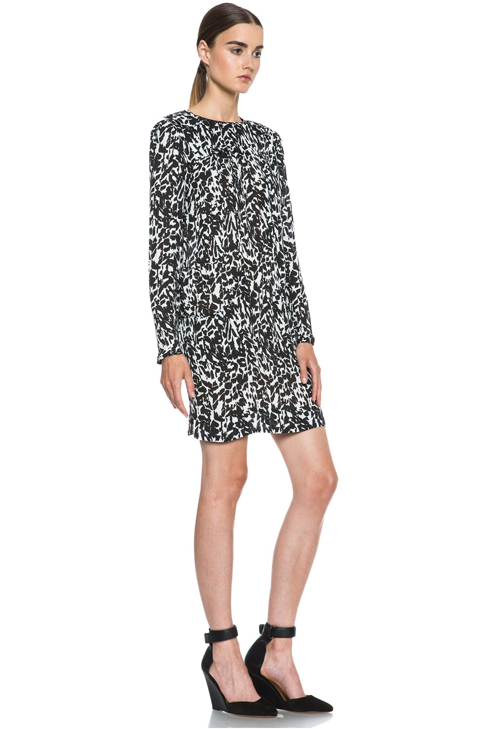 Image 3 of Isabel Marant Maybe Charmeuse Leopard Dress in Black