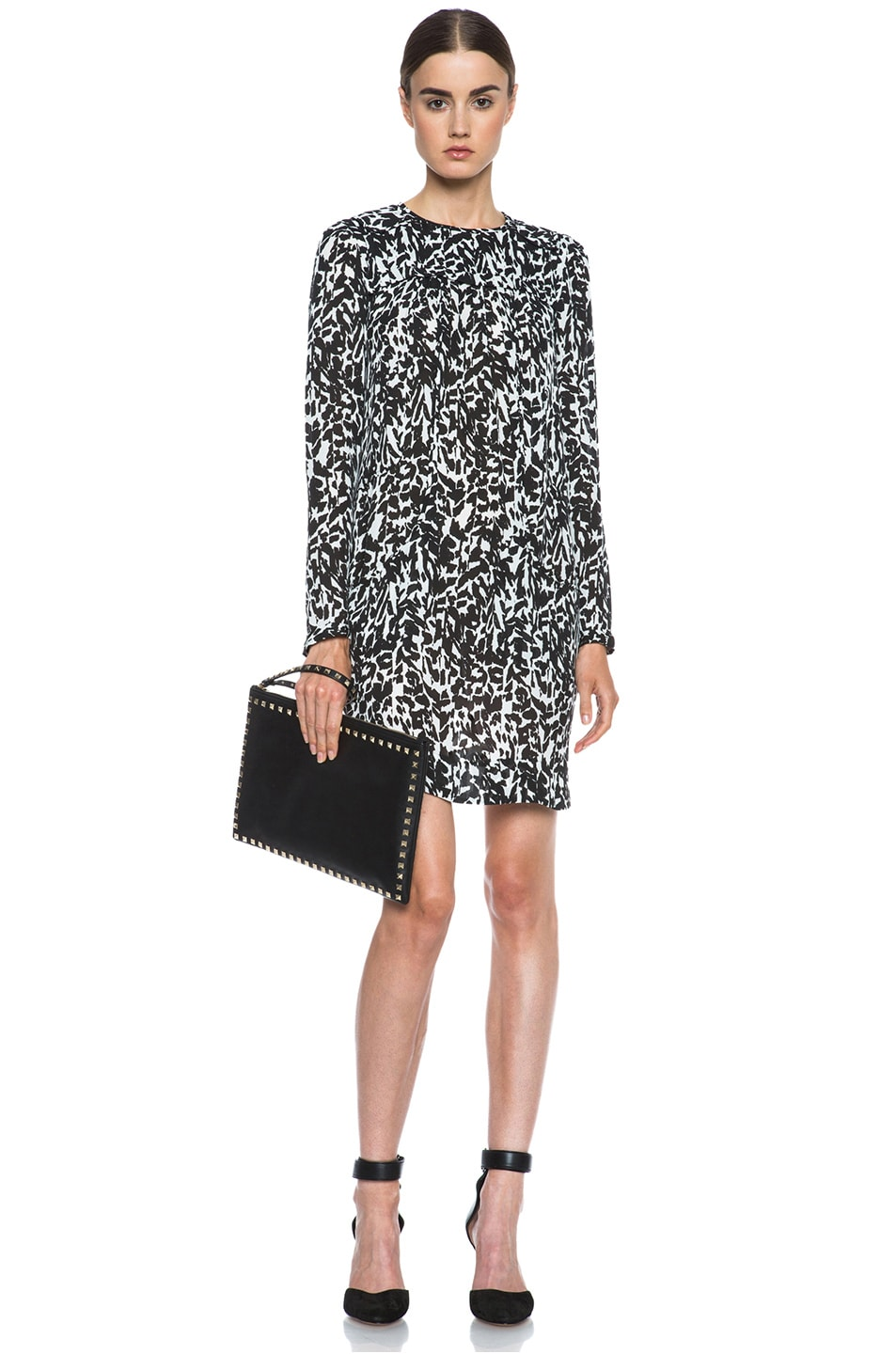 Image 5 of Isabel Marant Maybe Charmeuse Leopard Dress in Black