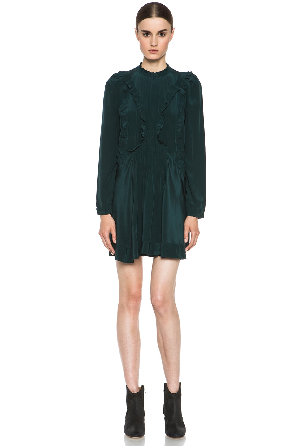 Image 1 of Isabel Marant Salvia Silk Dress in Bottle Green