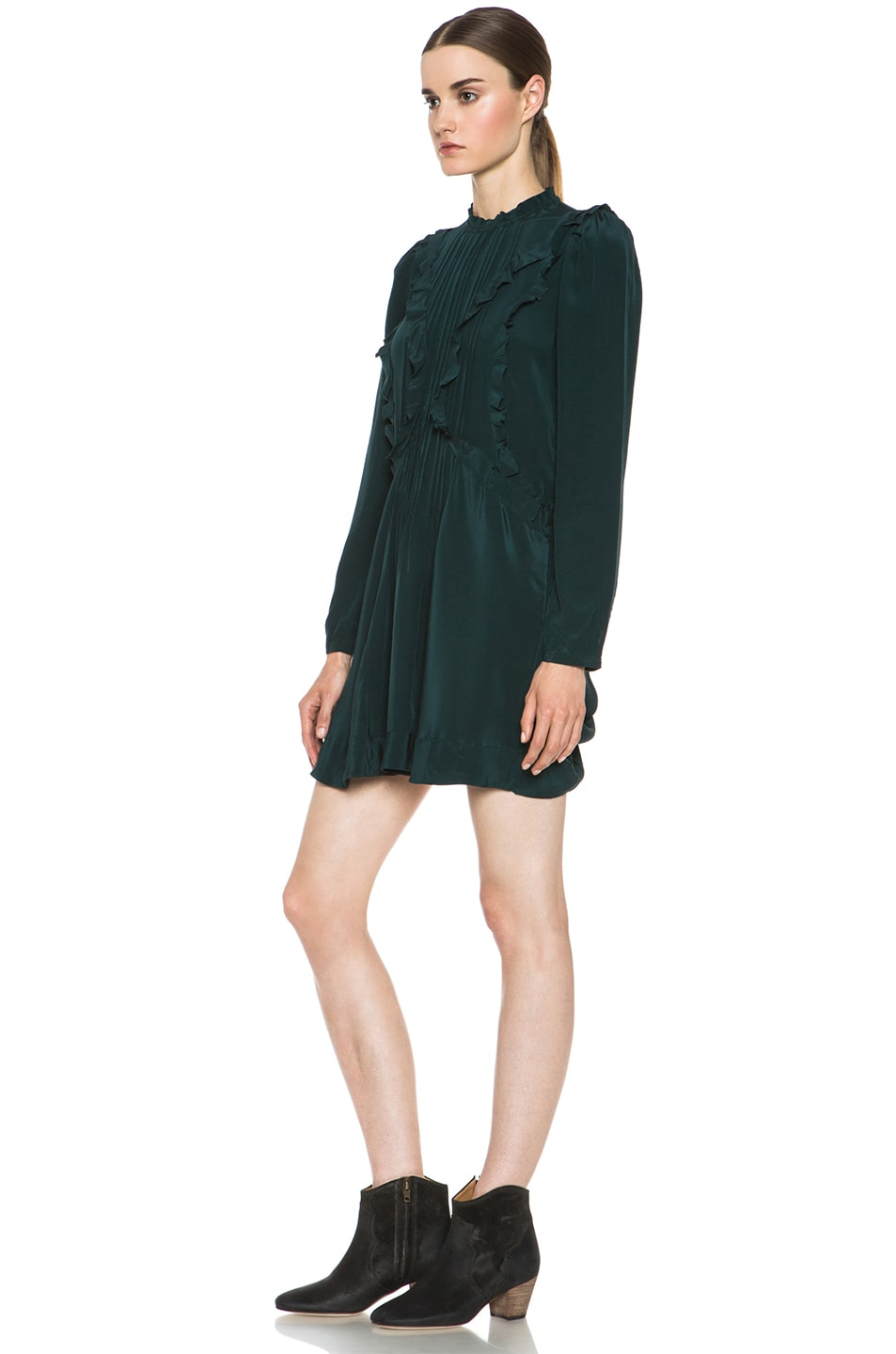 Image 2 of Isabel Marant Salvia Silk Dress in Bottle Green