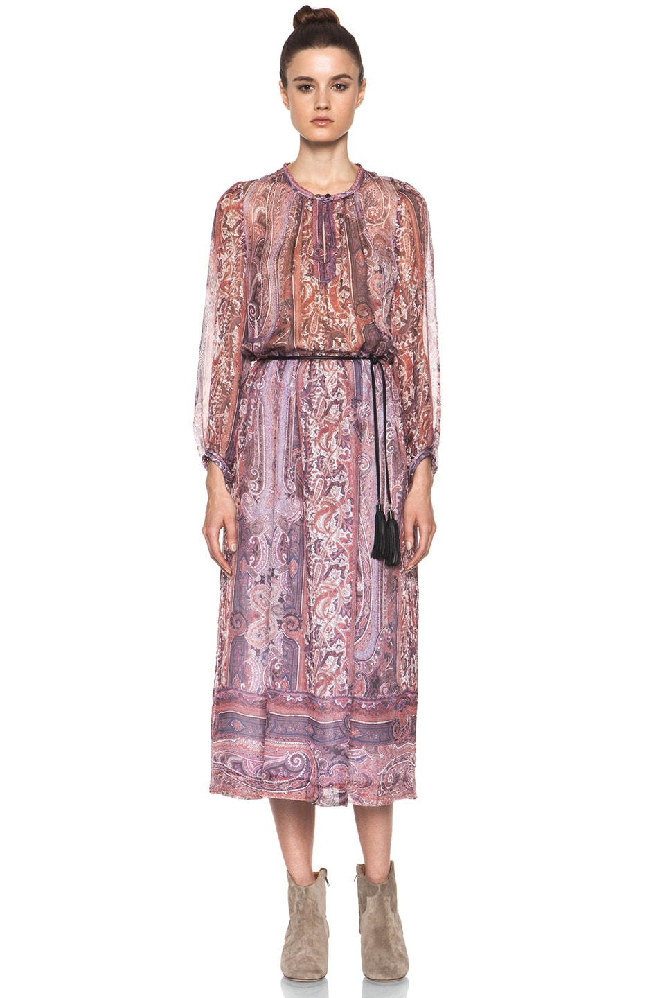 Image 1 of Isabel Marant Samuel Paisley Silk Gauze Maxi Dress in Violet Blue