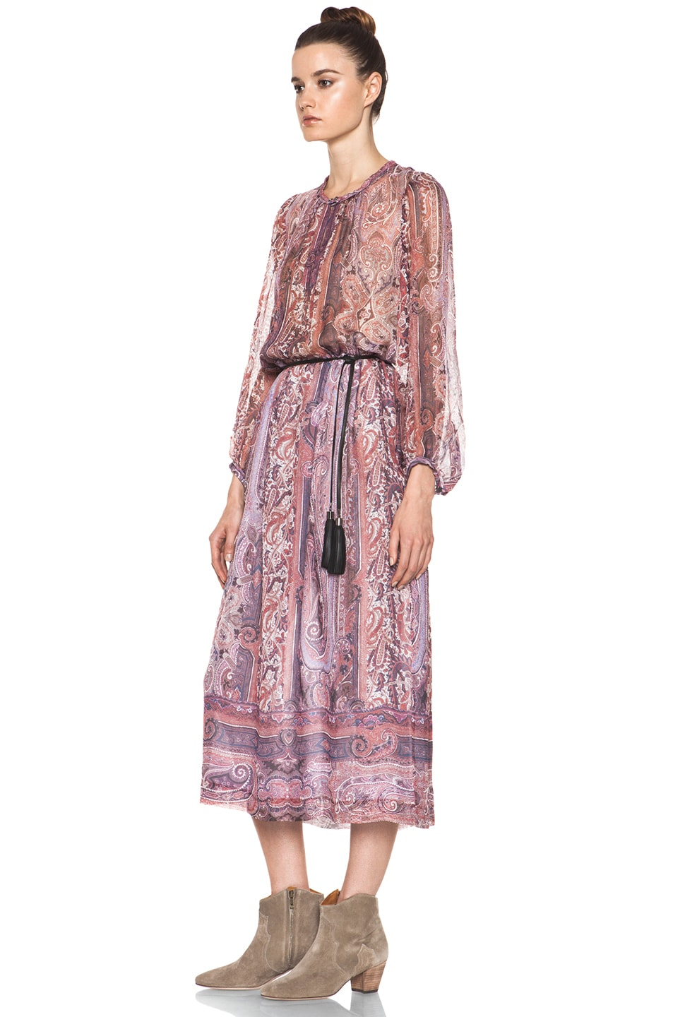 Image 2 of Isabel Marant Samuel Paisley Silk Gauze Maxi Dress in Violet Blue
