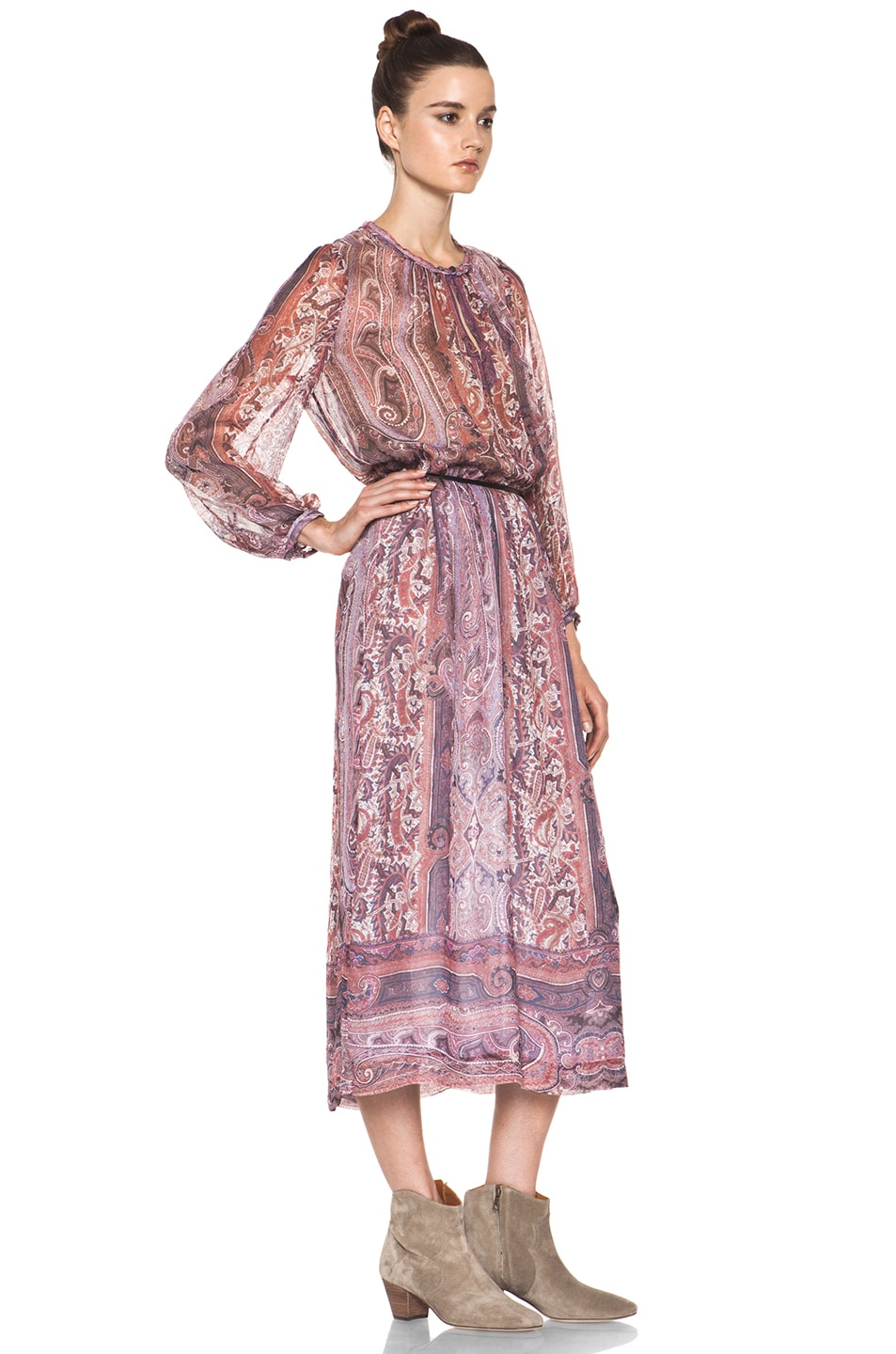 Image 3 of Isabel Marant Samuel Paisley Silk Gauze Maxi Dress in Violet Blue