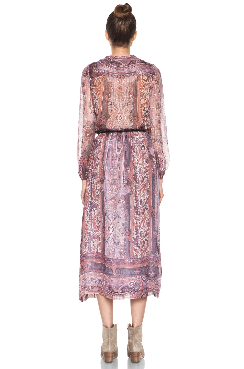 Image 4 of Isabel Marant Samuel Paisley Silk Gauze Maxi Dress in Violet Blue