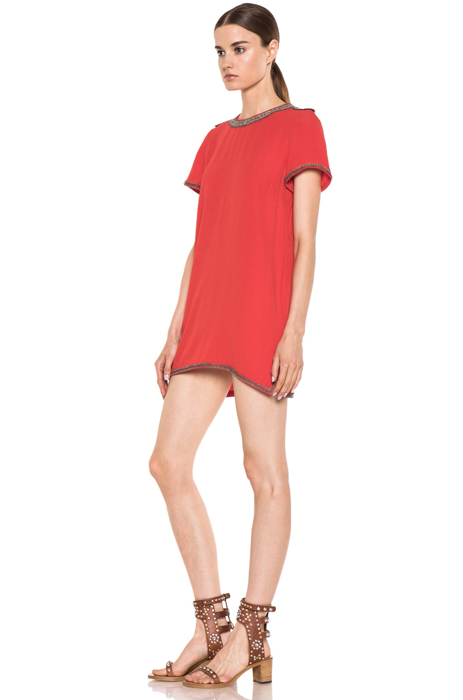 Image 2 of Isabel Marant Vallonia Embroidered Crepe Dress in Orange