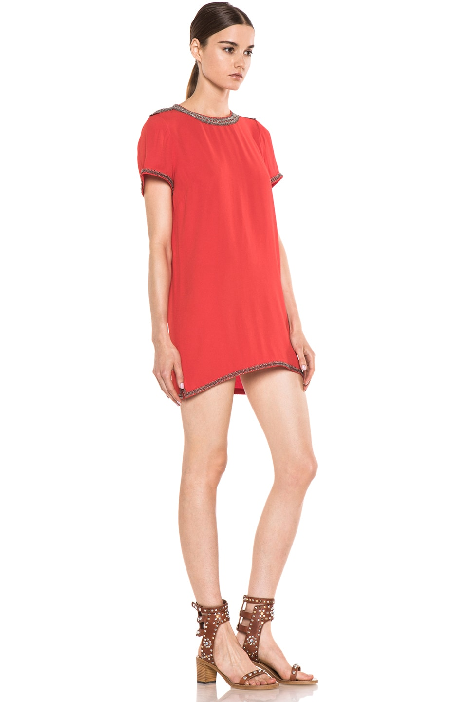 Image 3 of Isabel Marant Vallonia Embroidered Crepe Dress in Orange