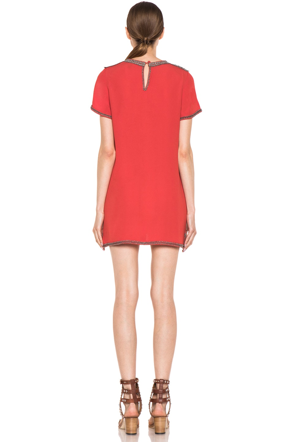Image 4 of Isabel Marant Vallonia Embroidered Crepe Dress in Orange