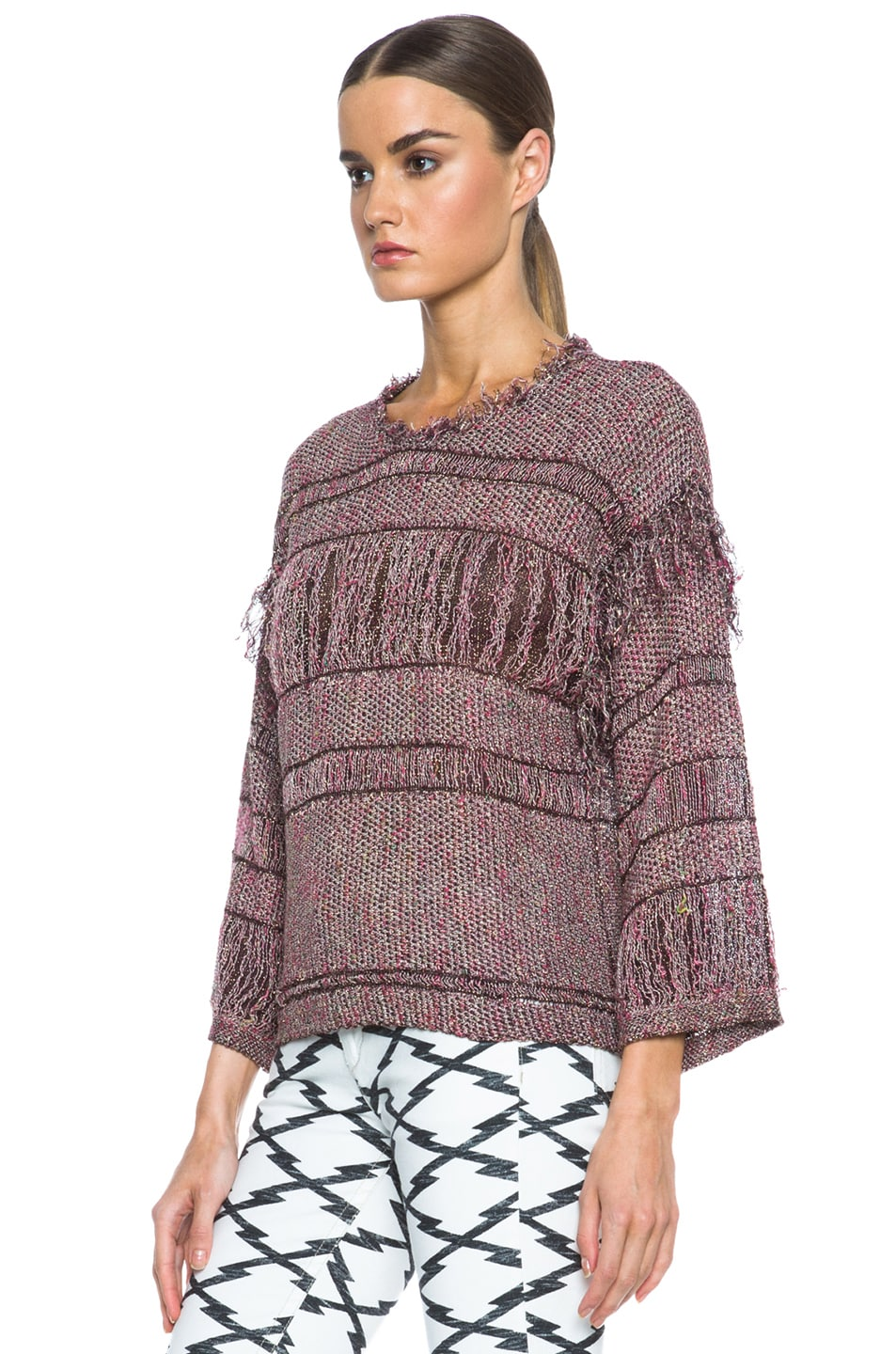 Image 2 of Isabel Marant Glimy Linen-Blend Sweater in Dusty Pink