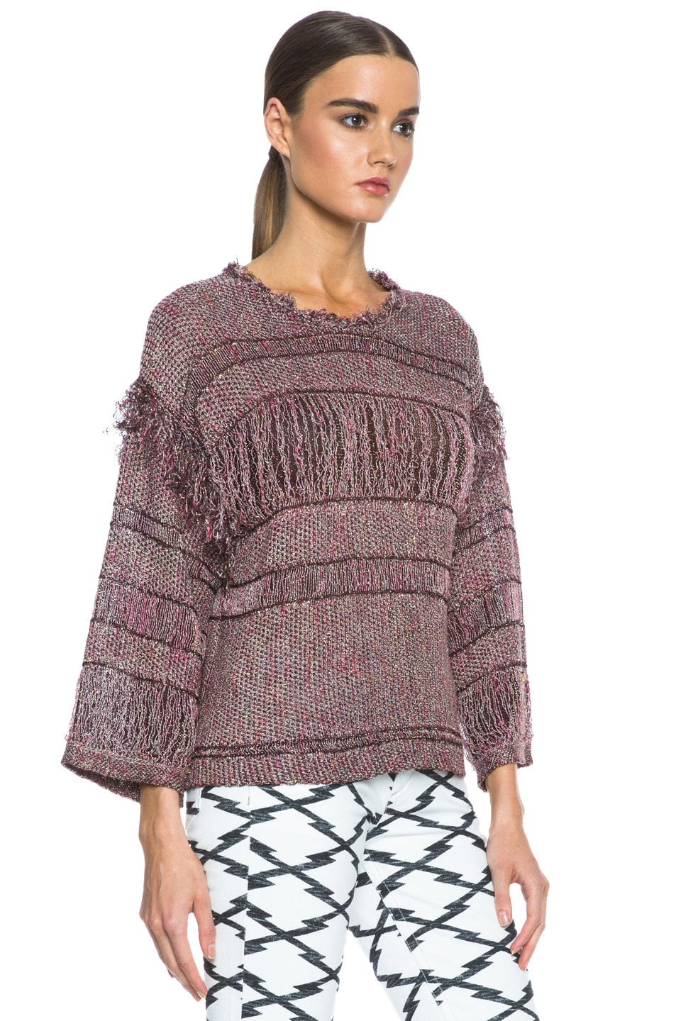 Image 3 of Isabel Marant Glimy Linen-Blend Sweater in Dusty Pink