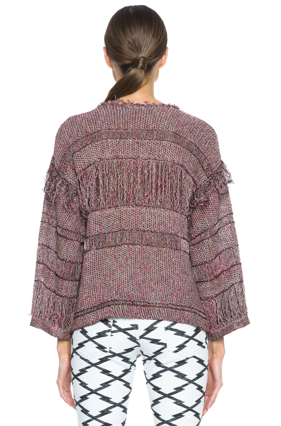 Image 4 of Isabel Marant Glimy Linen-Blend Sweater in Dusty Pink