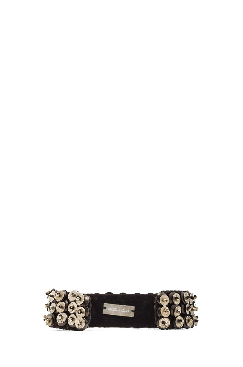 Image 3 of Isabel Marant Patterson Brass & Leather Cuff in Silver & Black