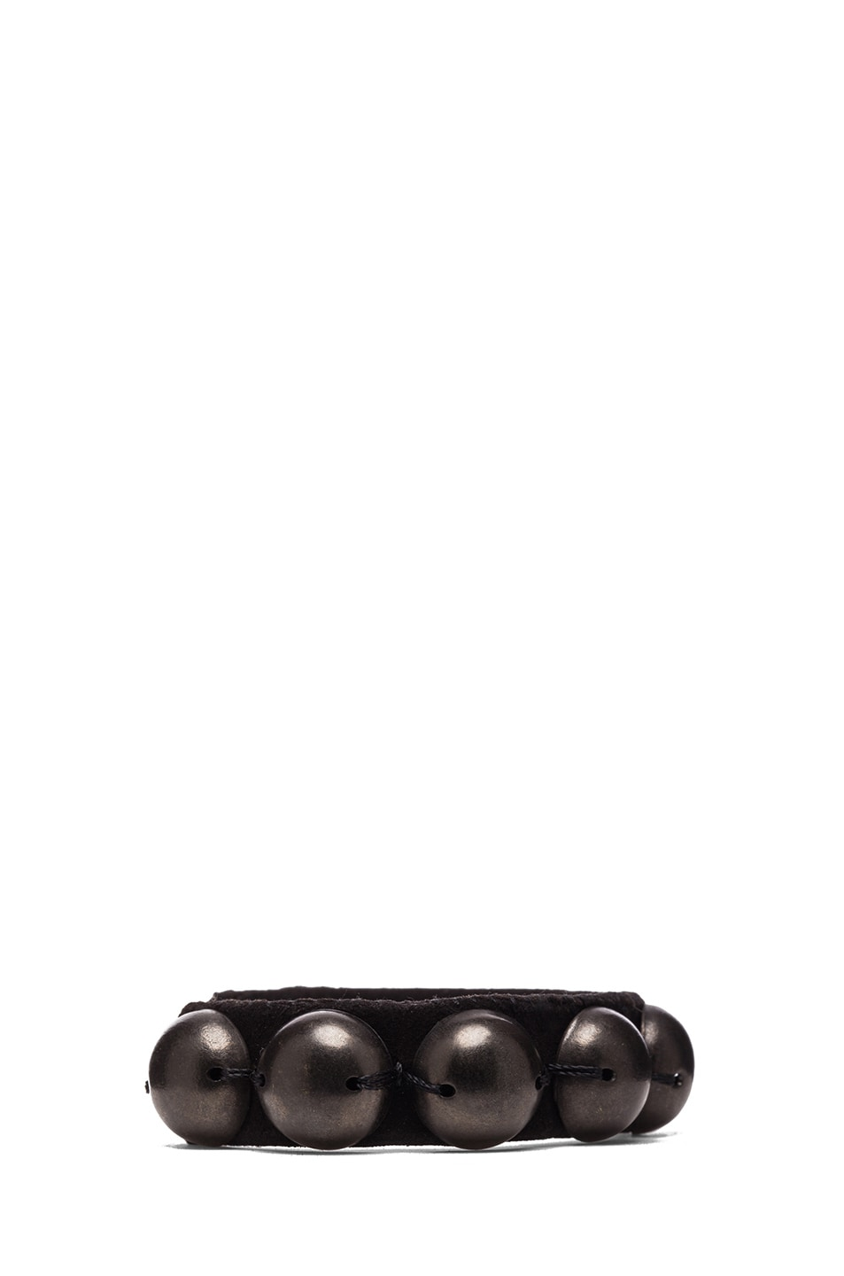Image 2 of Isabel Marant Patterson Brass & Leather Studded Cuff in Black