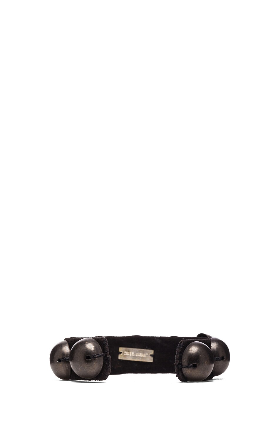 Image 3 of Isabel Marant Patterson Brass & Leather Studded Cuff in Black