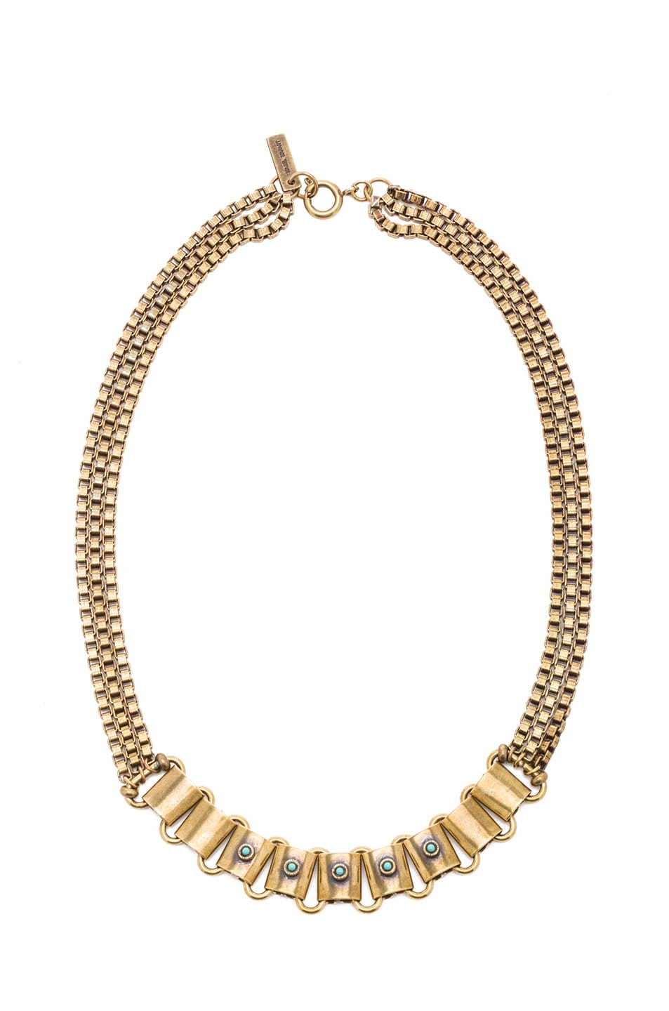 Image 1 of Isabel Marant Memphis Antique Brass Necklace in Gold & Blue