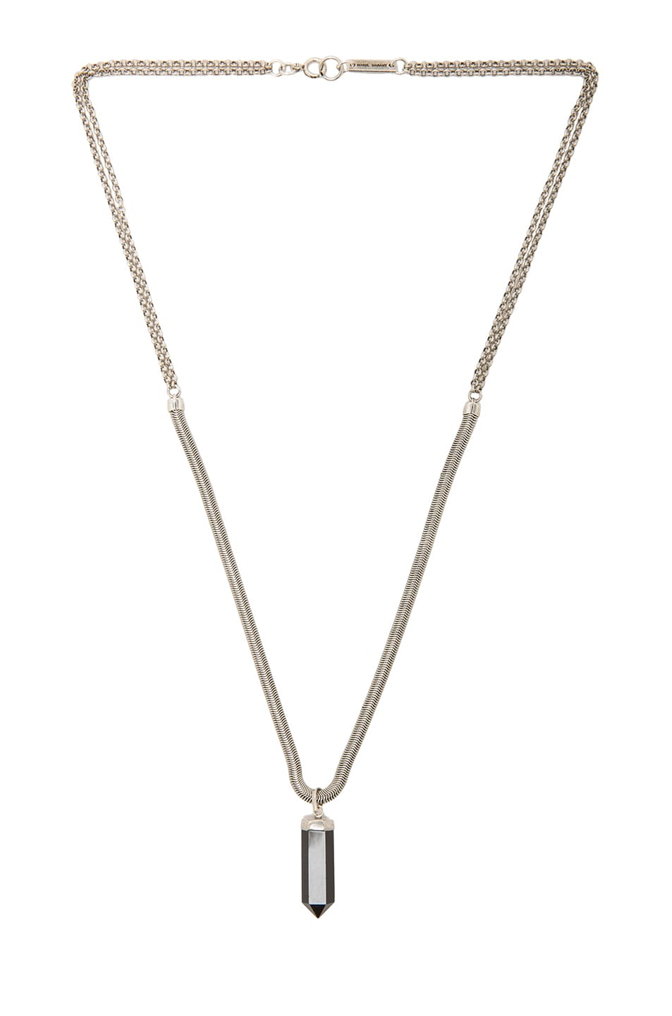 Image 2 of Isabel Marant Saul Pendant Necklace in Black & Silver