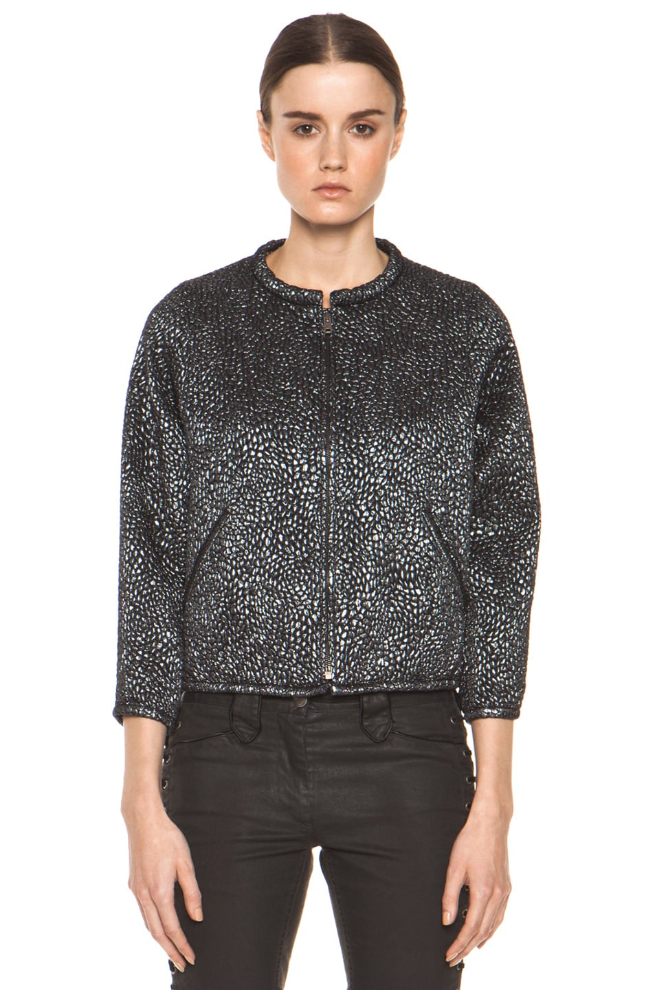 Image 2 of Isabel Marant Ginkle Bumpy Lurex Metallic Jacket in Black Silver