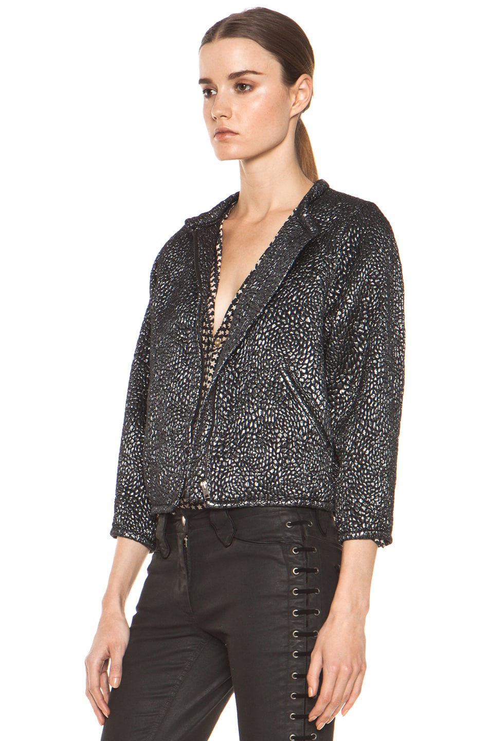 Image 3 of Isabel Marant Ginkle Bumpy Lurex Metallic Jacket in Black Silver