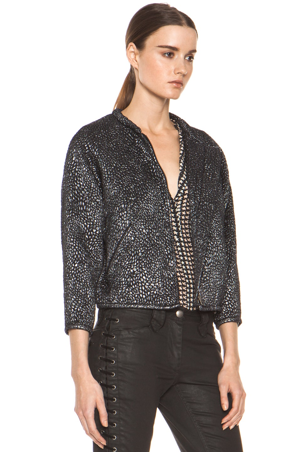 Image 4 of Isabel Marant Ginkle Bumpy Lurex Metallic Jacket in Black Silver